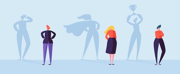 Mensen uit het bedrijfsleven met schaduw van de winnaar. mannelijke en vrouwelijke personages met silhouetten van leiderschap, prestatie en motivatie. Premium Vector