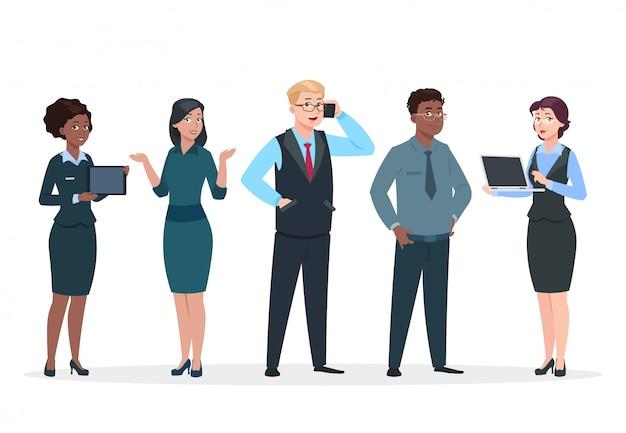 Mensen uit het bedrijfsleven. office team stripfiguren. groep bedrijfsmannen vrouwen, staande personen. teamwerk collega's concept Premium Vector