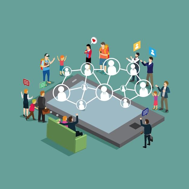 Mensen uit het bedrijfsleven ontmoeten vriendschap in technologie Premium Vector