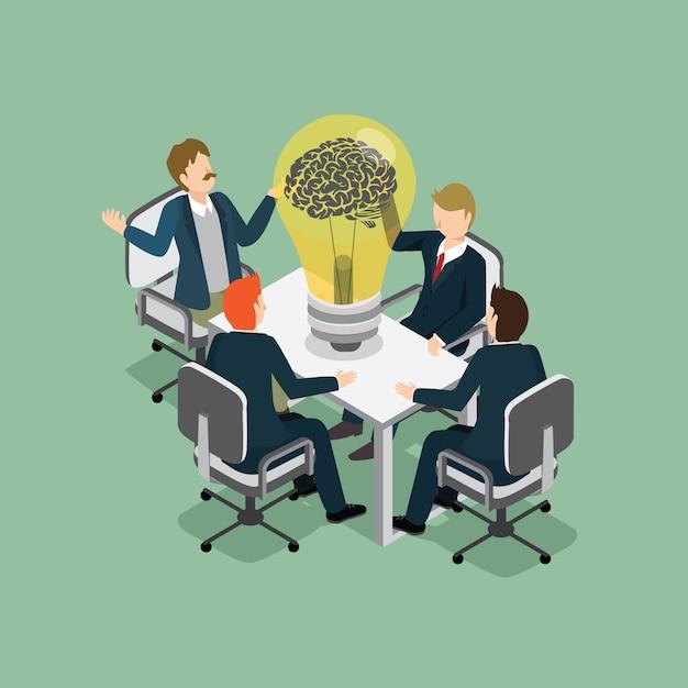 Mensen uit het bedrijfsleven ontmoeting met idee Premium Vector