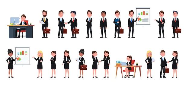 Mensen uit het bedrijfsleven op kantoor. vector illustratie ontwerp Premium Vector