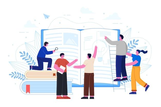 Mensen uit het bedrijfsleven op zoek in boek Gratis Vector