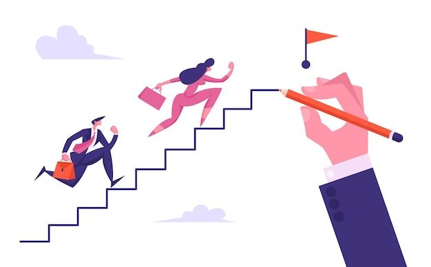 Mensen uit het bedrijfsleven rennen naar boven van big hand drawing ladder naar red flag illustration Premium Vector