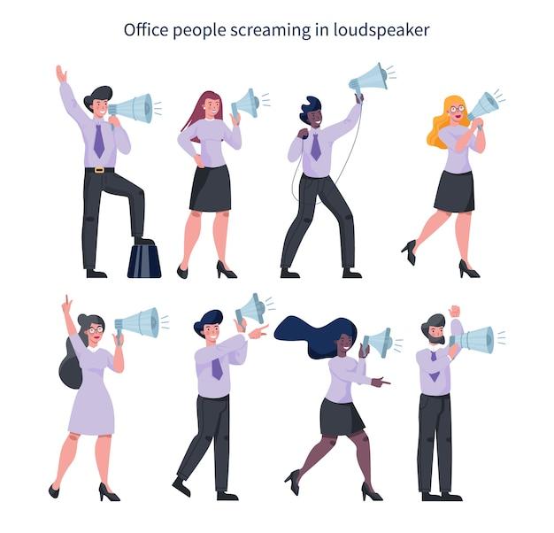 Mensen uit het bedrijfsleven staan met megafoon set. speciale promotie maken met luidspreker. spreker maakt aankondiging. de aandacht van de klant trekken. Premium Vector