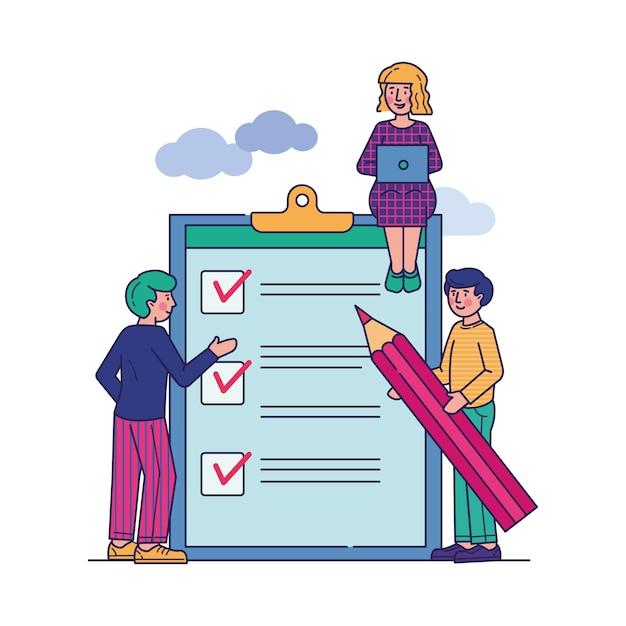 Mensen uit het bedrijfsleven staan op klembord met checklist Gratis Vector