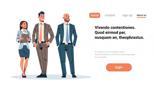 Mensen uit het bedrijfsleven team op zoek iets banner Premium Vector