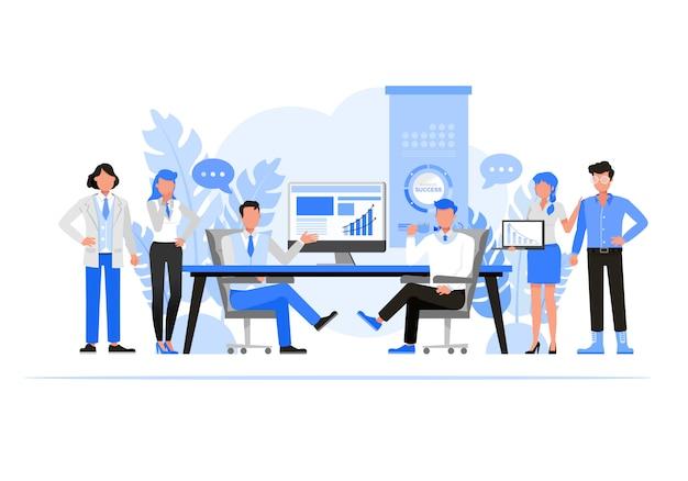 Mensen uit het bedrijfsleven tekenset. bedrijfsconcept bedrijven. Premium Vector