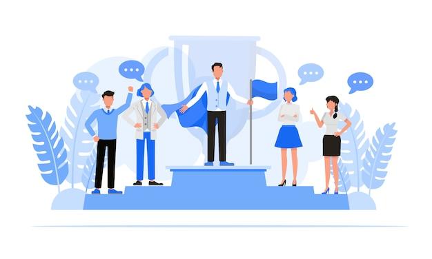 Mensen uit het bedrijfsleven tekenset. bedrijfsconcept van leiderschap en teamwork concept. Premium Vector