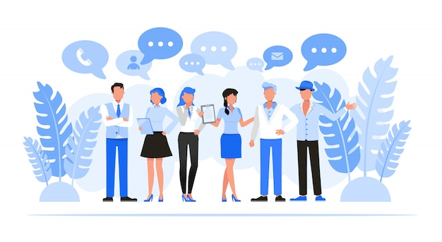Mensen uit het bedrijfsleven tekenset. zakelijk netwerken concept. Premium Vector