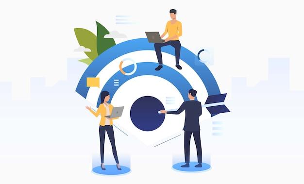 Mensen uit het bedrijfsleven werken en bedrijfsdoelstelling Gratis Vector