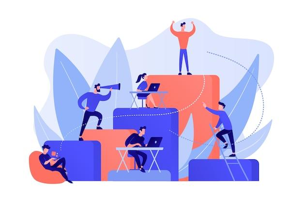 Mensen uit het bedrijfsleven werken en beklimmen de bedrijfsladder. werkgelegenheidshiërarchie, carrièreplanning, carrièreladder en groeiconcept op witte achtergrond. Gratis Vector