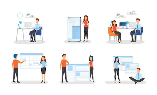 Mensen uit het bedrijfsleven werken in een kantoorset. teamwerk Premium Vector