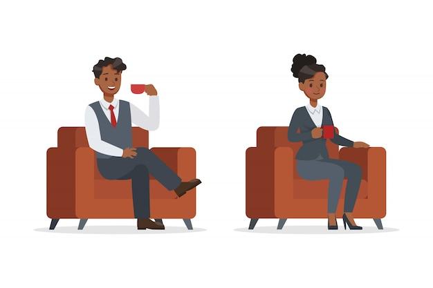 Mensen uit het bedrijfsleven werken in office set Premium Vector