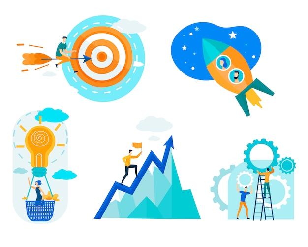 Mensen uit het bedrijfsleven werken in team om succes te behalen Premium Vector