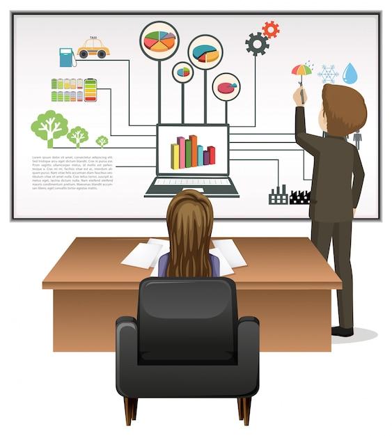 Mensen uit het bedrijfsleven werken op kantoor Gratis Vector