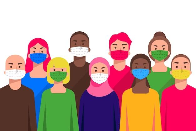 Mensen van alle nationaliteiten dragen maskers Gratis Vector