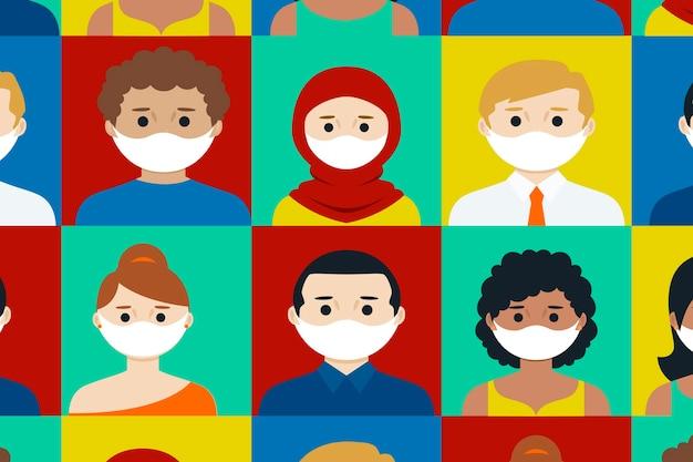 Mensen van alle nationaliteiten dragen maskerscollectie Gratis Vector