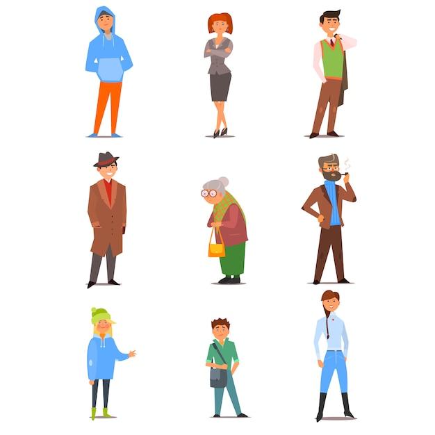 Mensen van verschillende levensstijl, leeftijd en beroep. vlakke afbeelding instellen Premium Vector