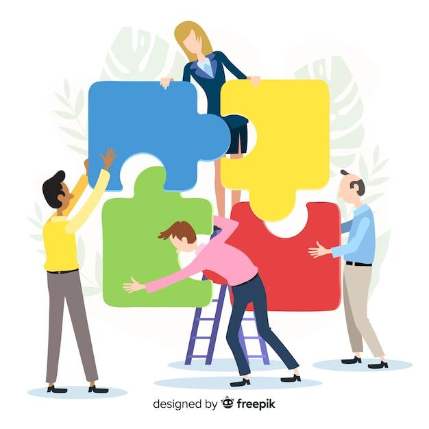 Mensen verbinden puzzel stukjes illustratie Gratis Vector