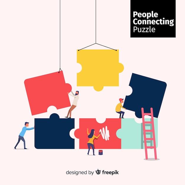 Mensen verbinden puzzelstukjes Gratis Vector