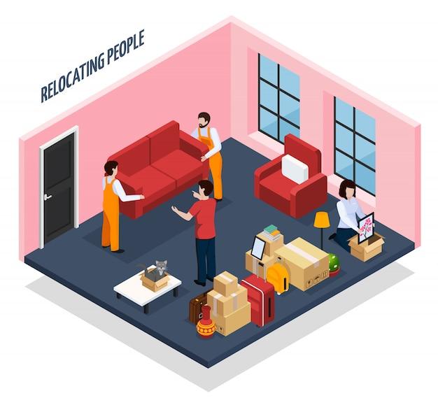 Mensen verhuizen isometrisch Gratis Vector