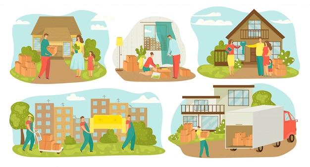 Mensen verhuizen, nieuwe huis verhuizing set van illustraties. familie verhuizers met dozen, meubels, containers. verplaatsing naar nieuw huis met vrachtwagentransport, huis verkopen. Premium Vector