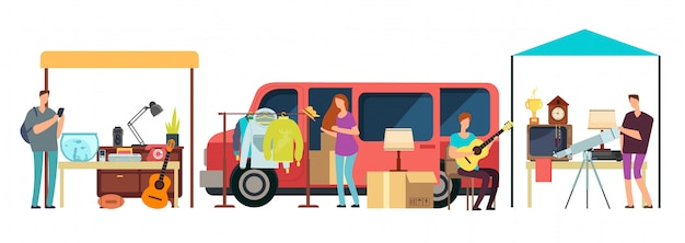 Mensen verkopen, winkelen tweedehands kleding, vintage goederen in mini tracks op rommelmarkt. Premium Vector