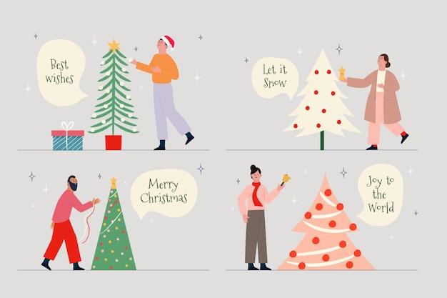 Mensen versieren kerstboom collectie Gratis Vector