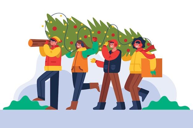Mensen versieren kerstboom Gratis Vector