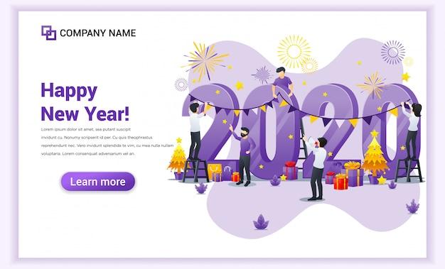 Mensen versieren op gigantische 2020-nummer vieren voor het nieuwe jaar vooravond banner Premium Vector