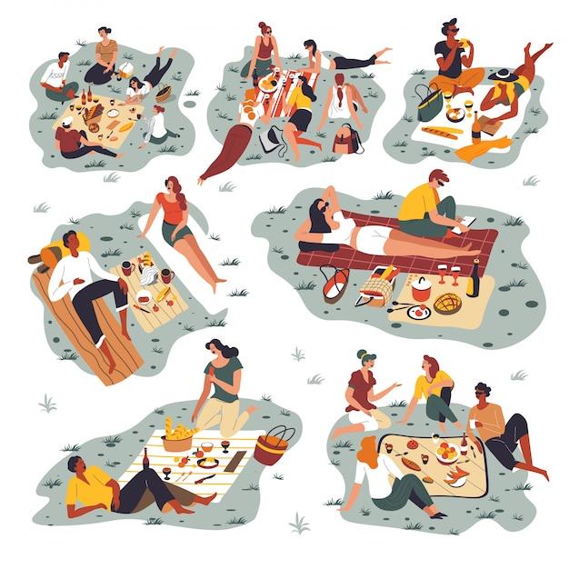 Mensen verzamelden zich op een picknick, vrienden brachten weekenden buiten door Premium Vector