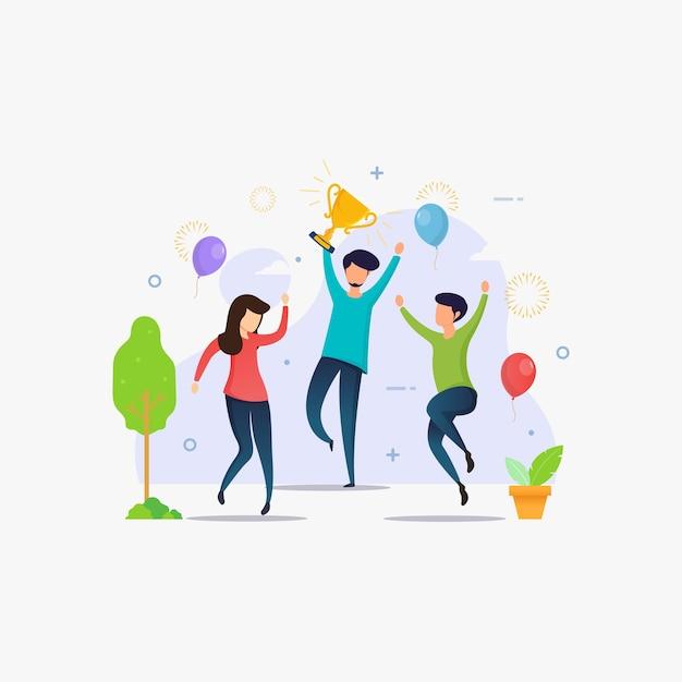 Mensen vieren de overwinning en winnen een prestatiebeloning Premium Vector