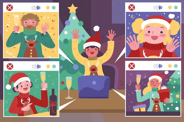 Mensen vieren kerst tijdens een videogesprek Gratis Vector