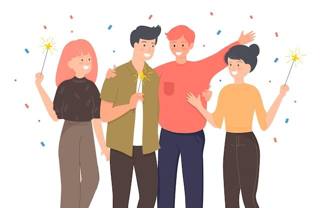 Mensen vieren samen met sterretjes Gratis Vector