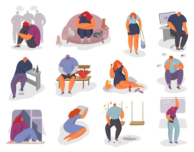 Mensen voelen zich eenzaam illustratie set, vrouw man karakter zitten alleen en voelen stress emotie, depressie, geïsoleerd op wit Premium Vector