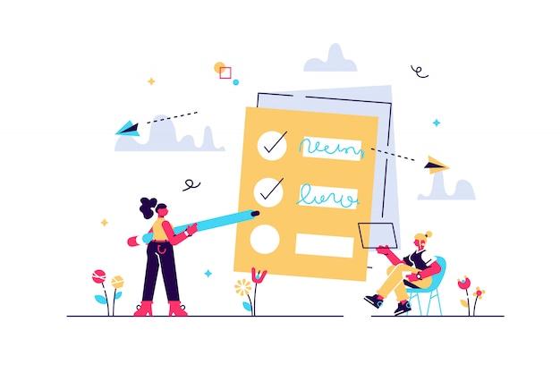 Mensen voelen zich in selectievakjes in hun takenlijst. project taakbeheer het concept. softwareontwikkelingsproces en projectmanagementactiviteiten. violet palet. illustratie op witte achtergrond Premium Vector