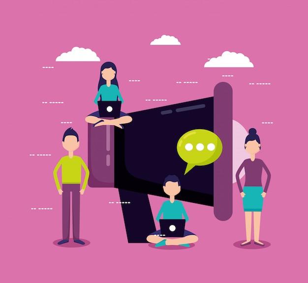 Mensen voor marketingconcept Gratis Vector