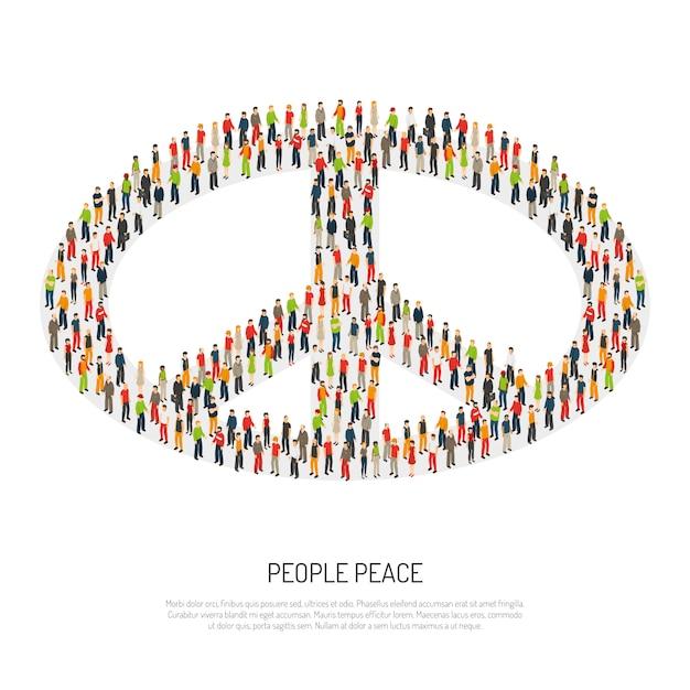 Mensen vrede poster Gratis Vector