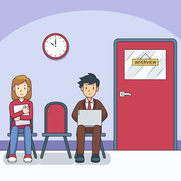 Mensen wachten op sollicitatiegesprek Premium Vector
