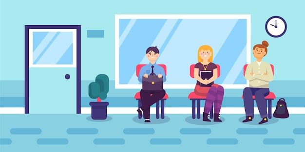 Mensen wachten sollicitatiegesprek illustratie Gratis Vector