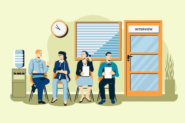 Mensen wachten sollicitatiegesprek illustratie Premium Vector