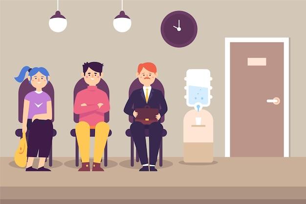 Mensen wachten sollicitatiegesprek Gratis Vector