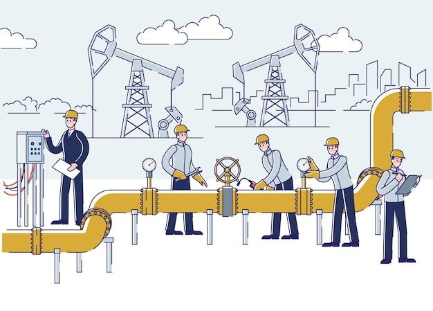 Mensen werken aan olie- en boorinstallaties Premium Vector