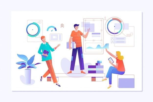Mensen werken in een team en werken in op grafieken Premium Vector