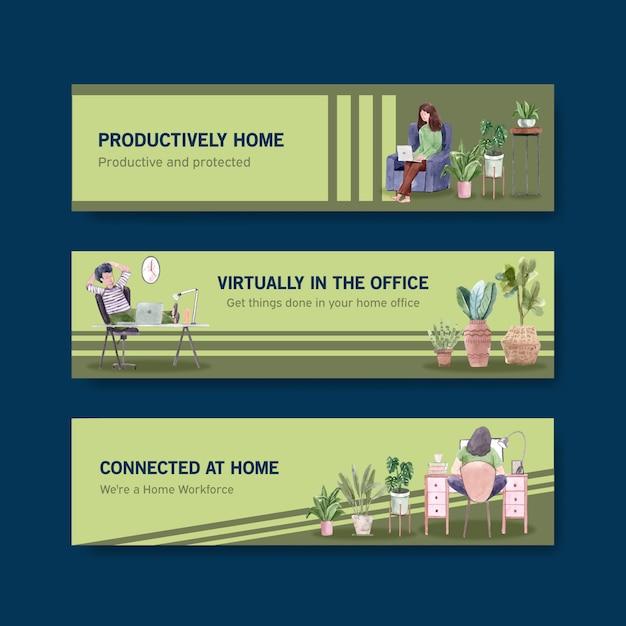 Mensen werken vanuit huis met laptops, pc aan tafel, op de bank. kantoor aan huis banner concept aquarel illustratie Gratis Vector
