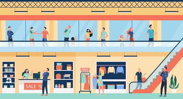 Mensen winkelen in de vlakke afbeelding van het winkelcentrum. cartoon kopers lopen in commercieel gebouw of winkel Gratis Vector
