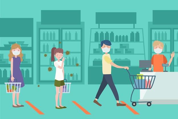 Mensen winkelen in een supermarkt Gratis Vector