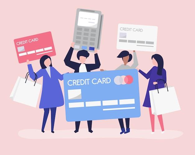 Mensen winkelen met een creditcard Gratis Vector