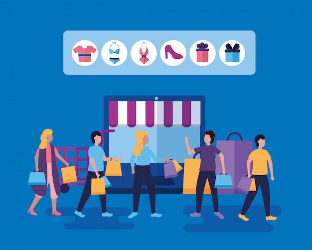 Mensen winkelen met tassen Gratis Vector