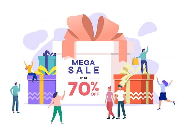 Mensen winkelen op oudejaarsavond, winteruitverkoop, mega sale ontwerpt banners, grote uitverkoop. einde seizoen speciale aanbieding, Premium Vector